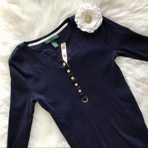 Ralph Lauren Navy Blue Button Down Long Sleeve Tee